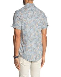 Report Collection Blue Short Sleeve Floral Print Stretch Slim Fit Shirt for men