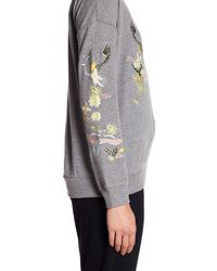 Cable & Gauge - Gray Embroidered Knit Sweatshirt - Lyst