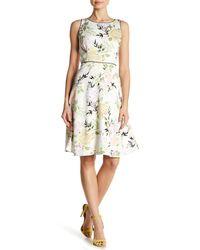 Nine West White Floral Print Fit & Flare Dress