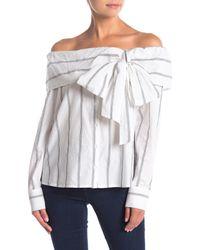 Ella Moss Black Rosemary Striped Off-the-shoulder Shirt