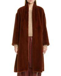 Vince Brown Belted Faux Fur Long Coat