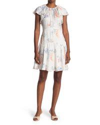 Rebecca Taylor White Short Sleeve Hydrangea Dress