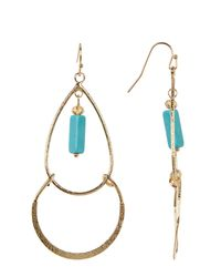 Cara | Multicolor Rectangle Turquoise Charm Dangle Earrings | Lyst