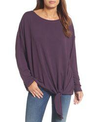 Caslon - Purple Caslon Tie Front Sweatshirt - Lyst