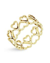 Bony Levy - Metallic 14k Yellow Gold Open Hearts Wide Ring - Lyst