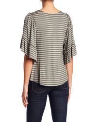 Bobeau - Gray Stripe Flounce Sleeve Shirt - Lyst