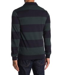Slate & Stone Blue Rugby Stripe Long Sleeve Polo for men