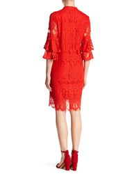 Sharagano - Red Mock Neck Day Or Night Dress - Lyst