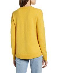 Halogen Yellow Crew Neck Wool Blend Sweater