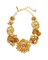 Oscar de la Renta - Metallic Blooming Bold Flower Collar Necklace - Lyst