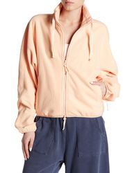 Free People Orange Higher Ground Fleece Jacket
