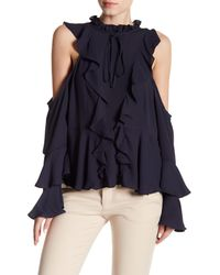 Romeo and Juliet Couture Blue Cold Shoulder Ruffle Blouse
