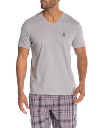 Psycho Bunny Gray V-neck T-shirt for men