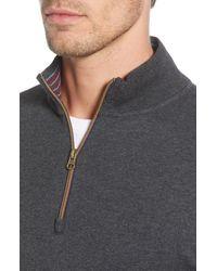 Robert Graham Gray Gold Rush Quarter Zip Pullover for men