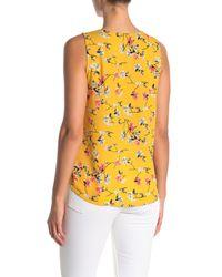 West Kei Yellow Floral Print Surplice Neck Top