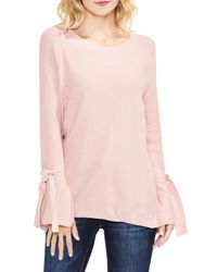 Two By Vince Camuto - Pink Texture Stitch Tie-sleeve Top (petite) - Lyst