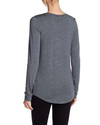 Heather by Bordeaux Gray Striped Long Sleeve Pocket Tee Shirt