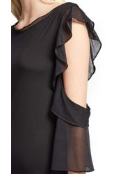 French Connection Black Ruffle Mix Jersey Dress