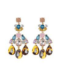 Cara - Multicolor Rhinestone & Tortoise Chandelier Earrings - Lyst