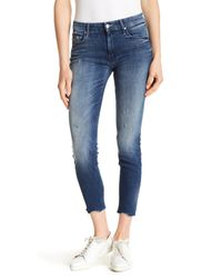 Mother - Blue Looker Ankle Fray Skinny Jeans - Lyst