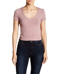 Project Social T Purple Ribbed V-neck Baby Tee