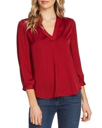 Vince Camuto Red Rumple Fabric Blouse