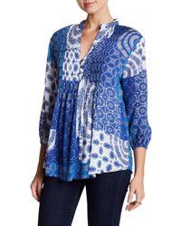 Casual Studio | Blue 3/4 Sleeve Pleated Blouse | Lyst