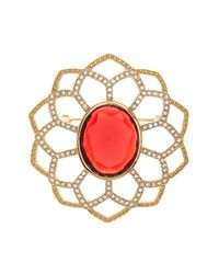 Carolee - Red Large Openwork Flower Pin - Lyst