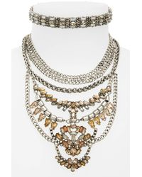 BaubleBar - Gray Xenia Choker Bib Necklace - Lyst