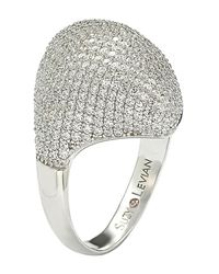 Suzy Levian White Sterling Silver Pave Cz Dome Ring