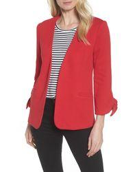 Olivia Moon Red Tie Sleeve Knit Blazer