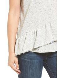 Caslon   Gray Caslon Asymmetrical Ruffle Short Sleeve Sweatshirt   Lyst
