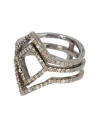 Adornia Metallic Sterling Silver Diamond Pave Deco Ring - 0.50 Ctw