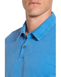 James Perse Blue Jersey Short Sleeve Polo Shirt for men