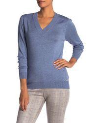 T Tahari Blue V-neck Knit Pullover