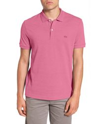 Lacoste - Pink Pique Polo With Tonal Croc for Men - Lyst