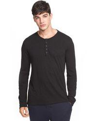 ATM Black Long Sleeve Henley Shirt for men
