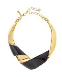 Oscar de la Renta Black Folded Metal Necklace