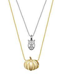 Alex Woo - Metallic Sterling Silver & 14k Gold Mini Owl & Pumpkin Necklace - Set Of 2 - Lyst