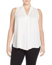 Vince Camuto White Pleat Front V-neck Sleeveless Blouse (plus Size)