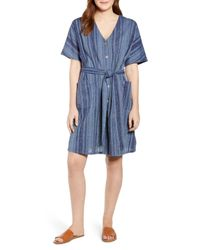 Caslon Blue Caslon Stripe Button Front Belted Cotton Dress