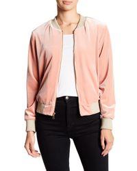 ABS By Allen Schwartz - Pink Front Zip Velvet Bomber Jacket - Lyst