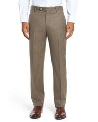 Zanella - Multicolor Devon Flat Front Solid Wool Flannel Trousers for Men - Lyst