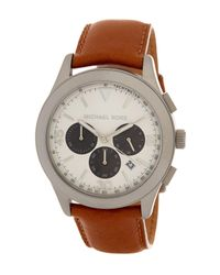 MICHAEL Michael Kors - Brown Men's Gareth Leather Strap Watch for Men - Lyst