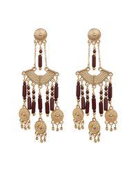 Steve Madden | Metallic Bead Detail Textured Chandelier Drop Post Earrings | Lyst