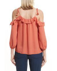 Joie   Orange Eukene Silk Cold Shoulder Top   Lyst
