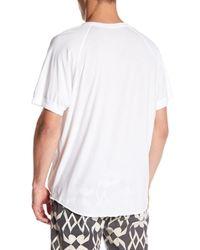 Save Khaki White Short Sleeve Jersey Henley Tee for men