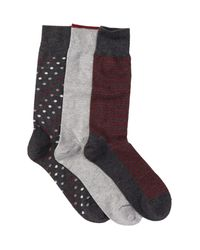 Cole Haan | Multicolor Dots & Stripes Crew Socks - Pack Of 3 for Men | Lyst