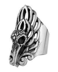 King Baby Studio - Metallic Sterling Silver Raven Skull Ring - Lyst