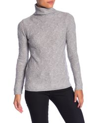 Kinross Cashmere Gray Cashmere Cable Funnel Neck Shirt